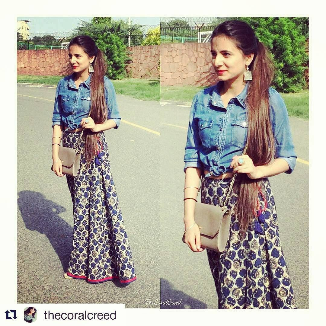 """""""We love how @thecoralcreed has styled her #Fabindia printed palazzos.   #Repost @thecoralcreed  #New #Look #RightMix #Pair #Design #Unique #Outfit…"""""""