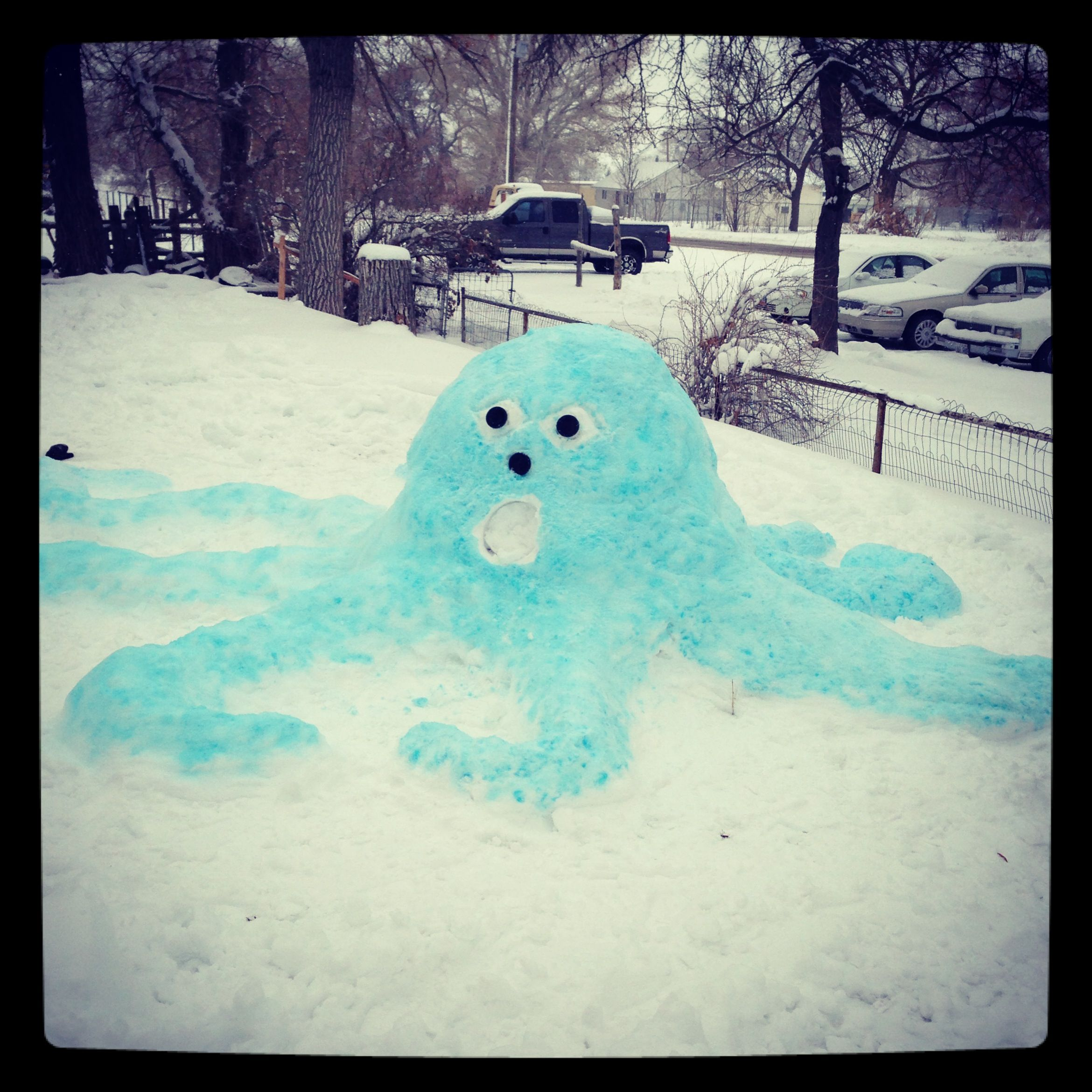 Snow creature. This octopus is a snow creation colored by blue food coloring.  Soooo fun for a snow day!