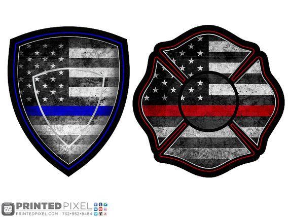 The Thin Lines Police Shield or Maltese Cross by PrintedPixel. #thinblueline #thinredline