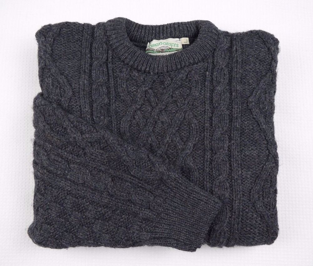 Aran crafts ireland mens aran jumper l wool chunky knit for Aran crafts fisherman sweater