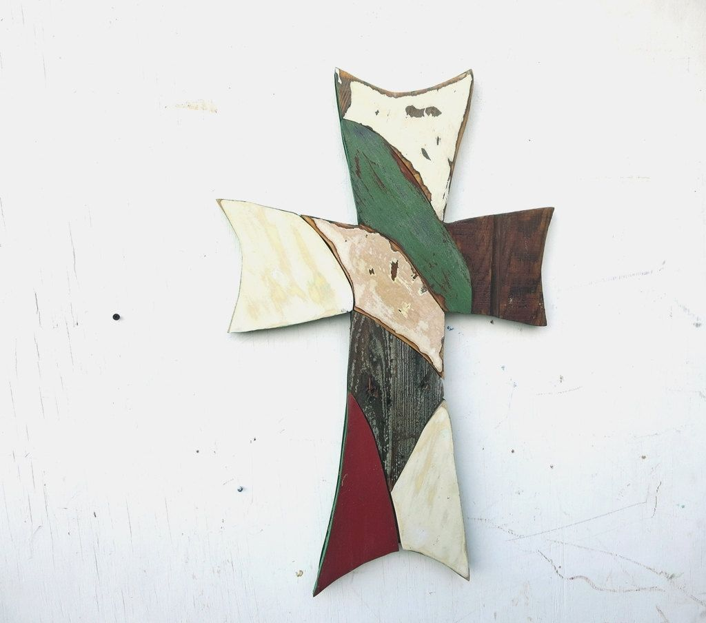 Large wall cross wooden mosaic cross reclaimed wood art recycled