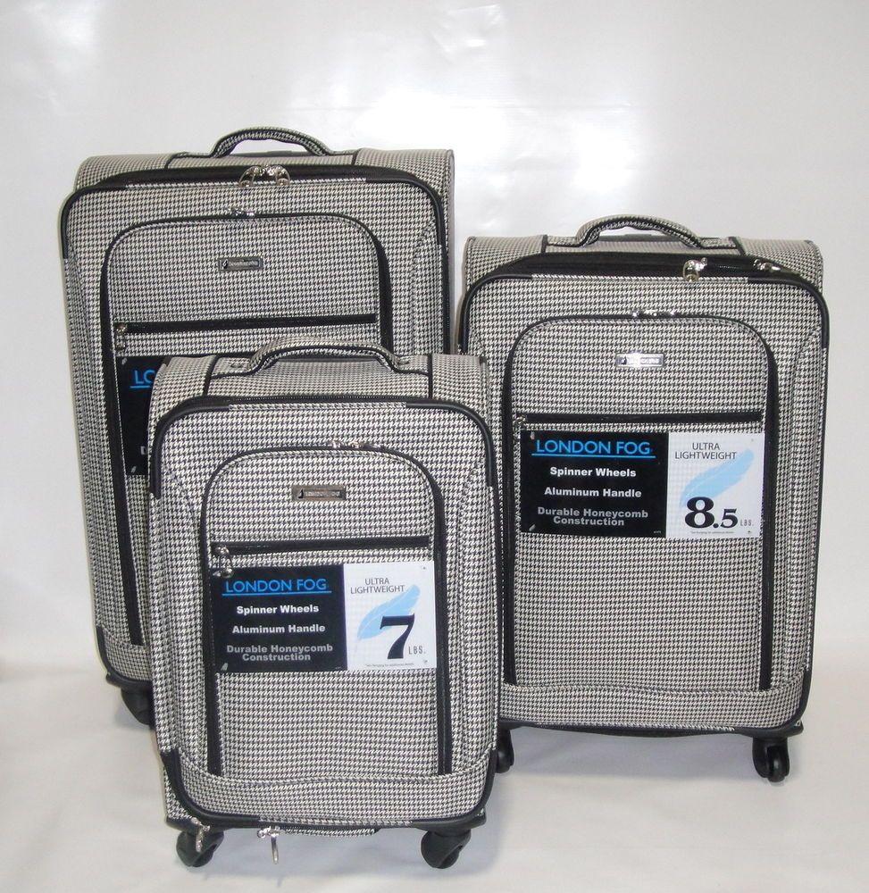 New London Fog Sheffield 3pc Ultra Light Luggage Set Expandable Black Check Londonfog London Fog Light Luggage Luggage