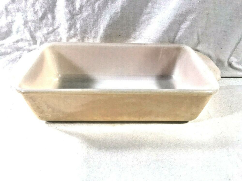 Vintage Fire King Baking Glass Dish Bread Meatloaf Pan Peach Color