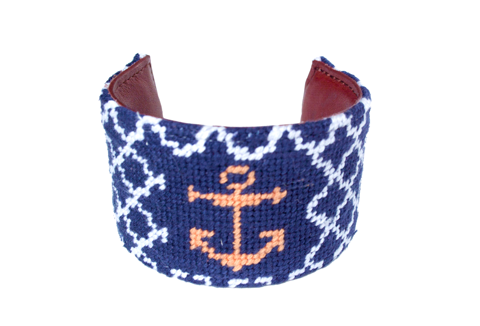 Asher Riley Navy and White Quatrafoil Needlepoint Cuff