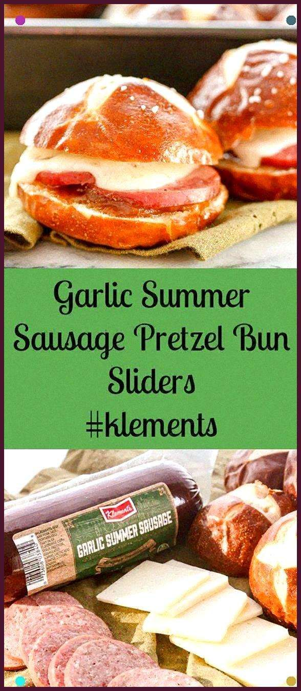 Garlic Summer Sausage Pretzel Bun Sliders Klements Linkup Garlic Summer Sausage Pretzel Bun Sliders