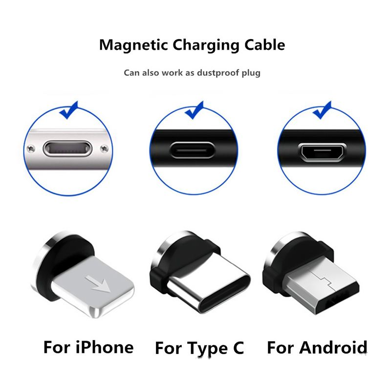 0 39us 71 Off Magnetic Cable Plug Usb Cable Jack Adapter For Iphone 8 Pin Usb C Micro Type C Plugs Android Fast Charging Usb Charger Cord Plug Plug Connect Cable Plug