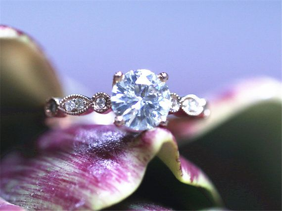 Moissanite Engagement Ring 5mm Round Cut by GembySheri on Etsy