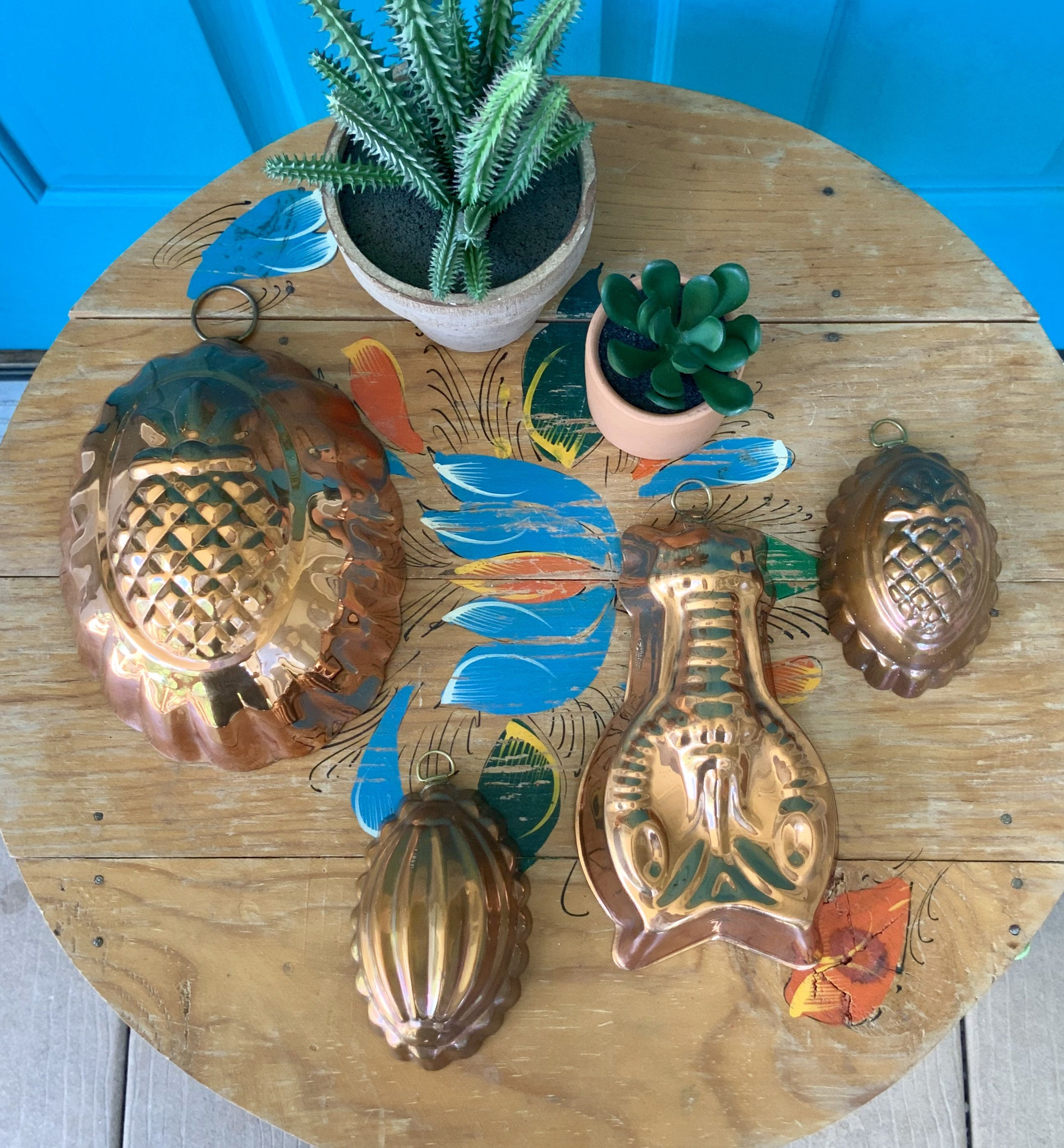 Free shippingvintage set of 4 pineapple lobster
