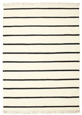 Dhurrie Stripe   White / Black 140x200