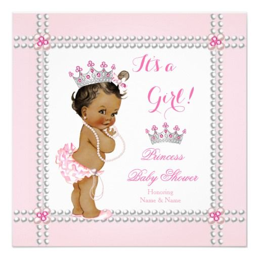 Princess Baby Shower Girl Pink Pearls Ethnic