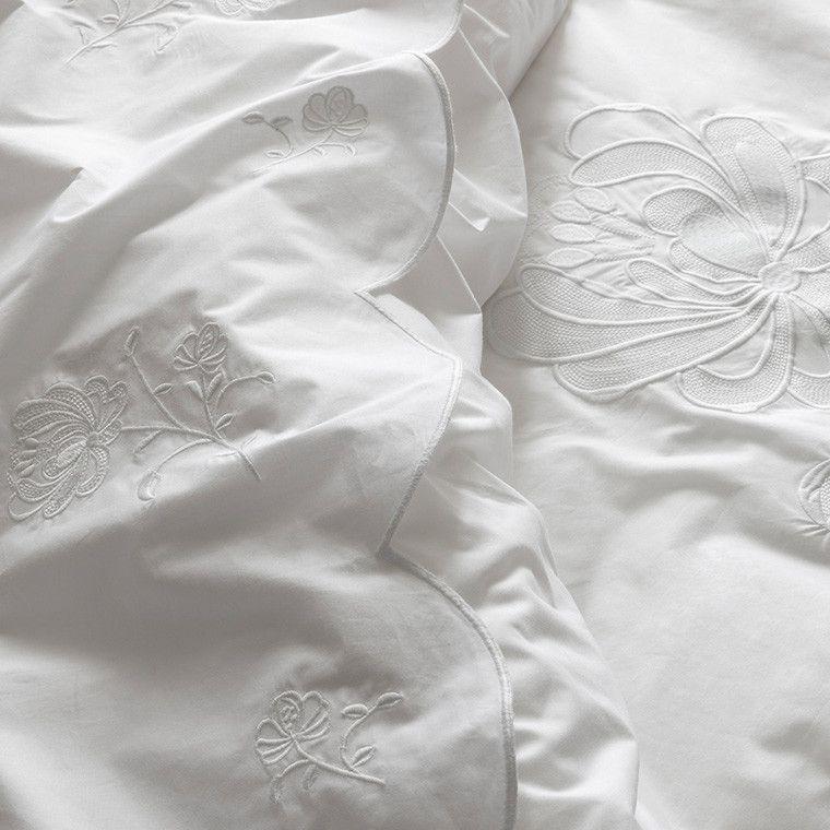 Housse De Couette Percale De Coton Peignee Pensees Blanc Housse De Couette Parure De Drap Et Couette