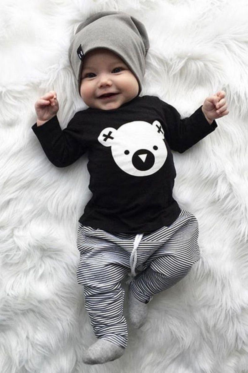 Photo of Lambkingo Super Cute 2-pieces Baby Boy Bear Animal Print Cot…
