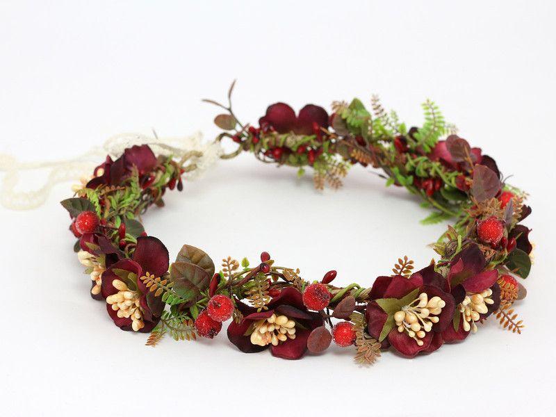 Bordowy Wianek Na Glowe Lolawhite Kwiaty Do Wlosow Burgundy Flowers Flower Accessories Floral Accessories