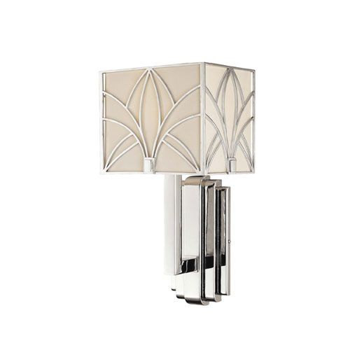 Walt Disney Signature Chrome And Crystal Accents One Light Wall Sconce With  Etched White Fabric