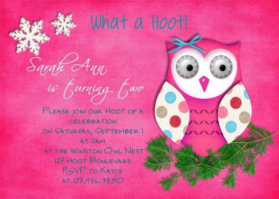 Owl invite emma kates 1st birthday pinterest owl birthday owl invite filmwisefo
