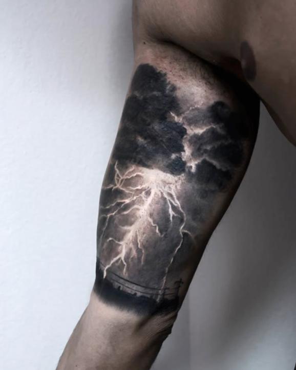 Badass thunderstorm tattoo by Paolo Murtas...
