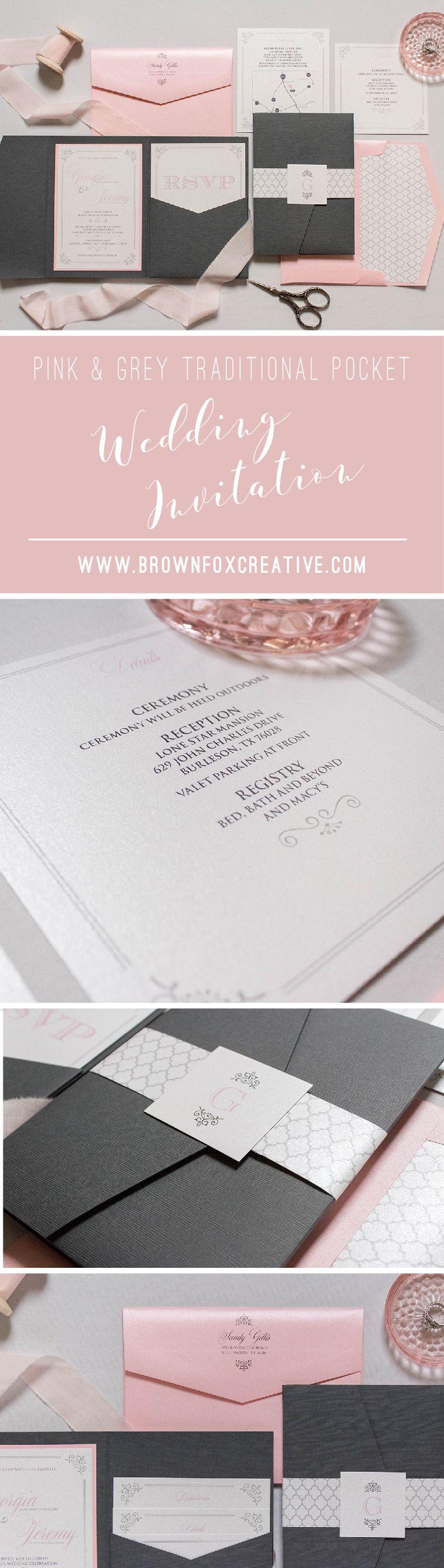 5x7 Grey Pink Silver Pocket Wedding Invitation With Return Address