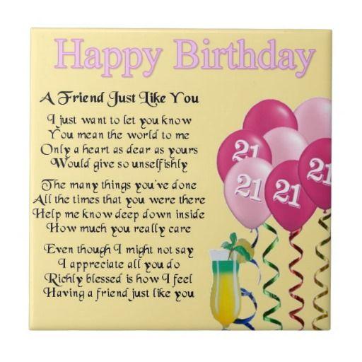 21st Birthday Poems 21st Birthday Friend Poem Tile Zazzle Happy 21st Birthday Birthday Poems For Daughter Happy 21st Birthday Daughter