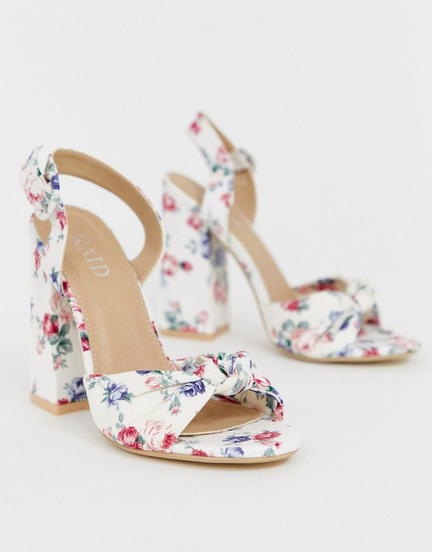 RAID Malory printed floral block heeled