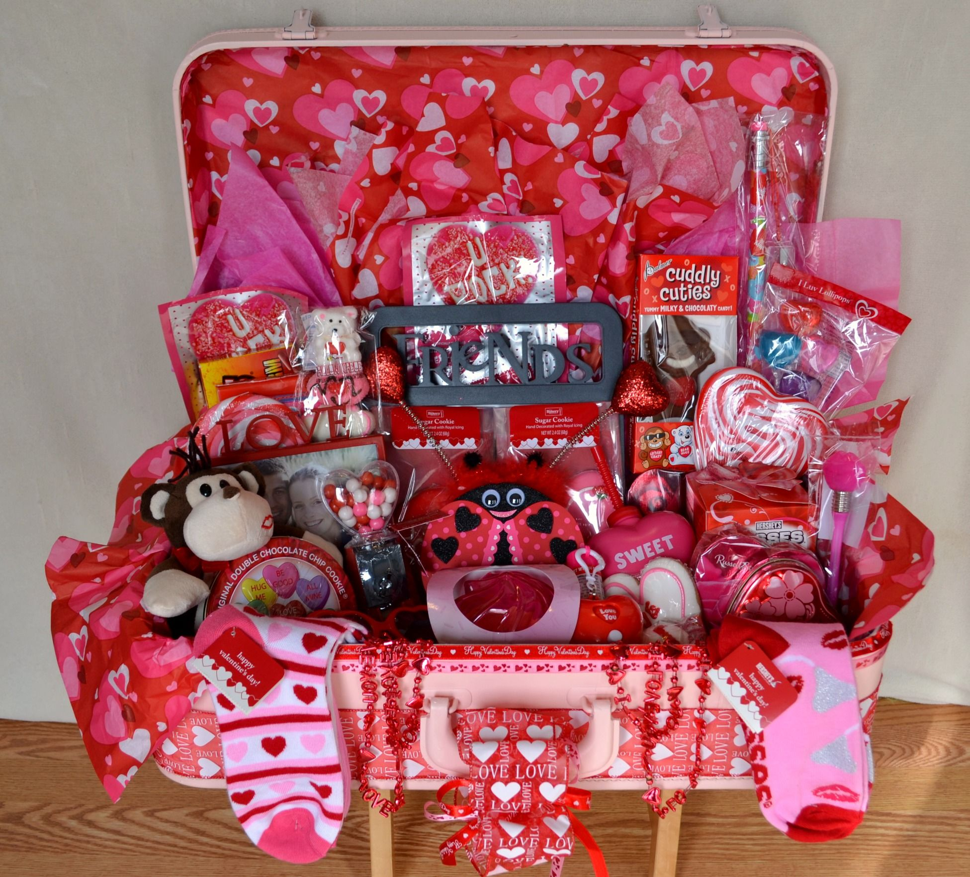 Valentine Gift Basket I made out of a vintage suicase ...