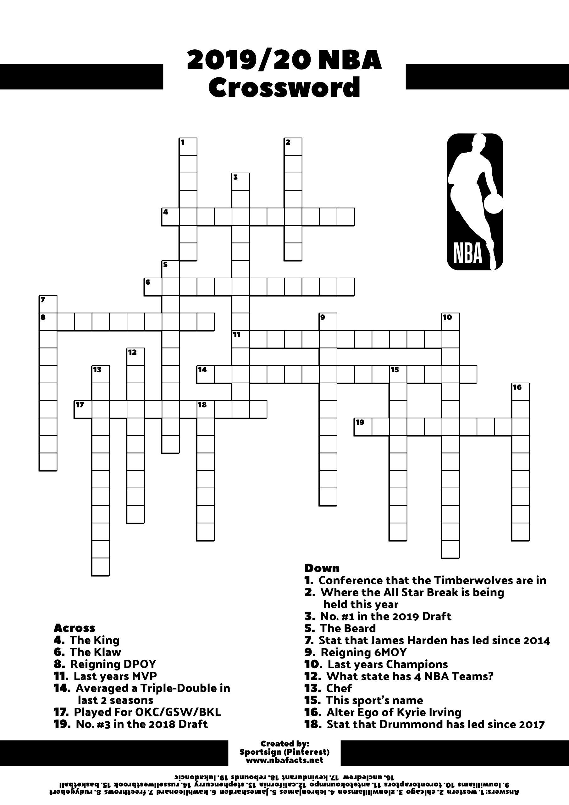 Free Nba Basketball Crossword In 2020 Crossword Nba Sports Crossword