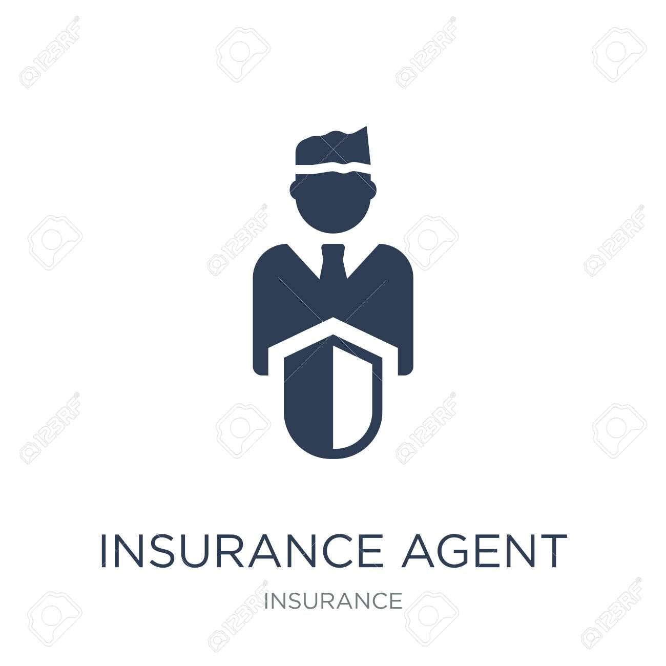 Insurance Agent Icon Trendy Flat Vector Insurance Agent Icon On