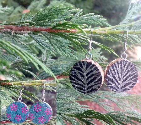 Gray Tree - Handmade Cork Earring / El yapımı Mantar Küpe