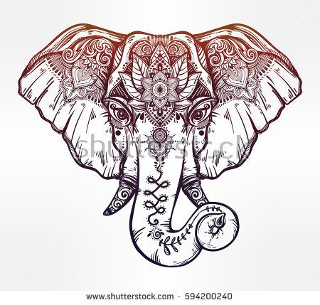 Vintage style vector elephant with ethnic lotus ornaments. Ideal ethnic background, tattoo art, yoga, African, Indian, Thai,