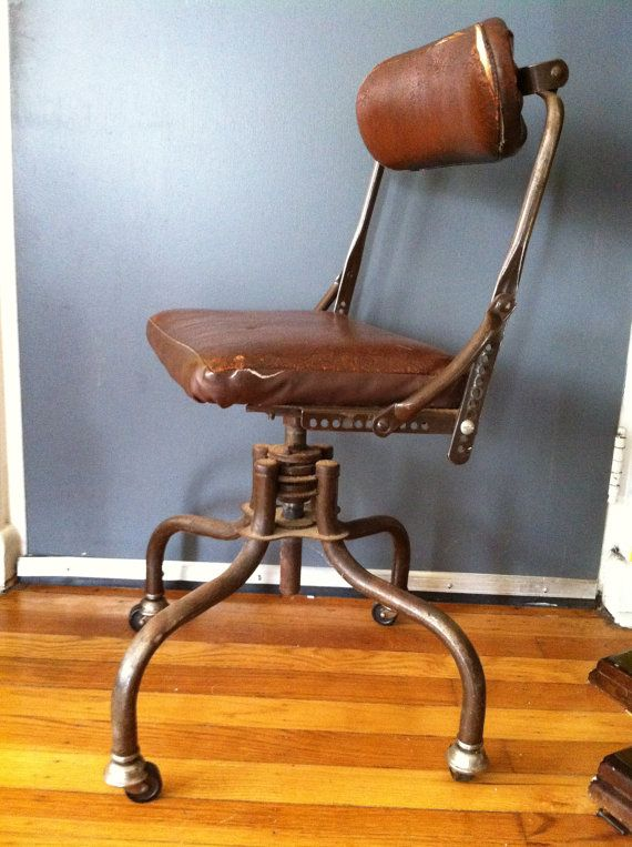 Vintage s DoMore Do More Doctor fice Industrial Leather Swivel Chair