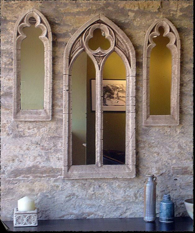 Artificial Gothic Stone Mirrors Abbey Church Style