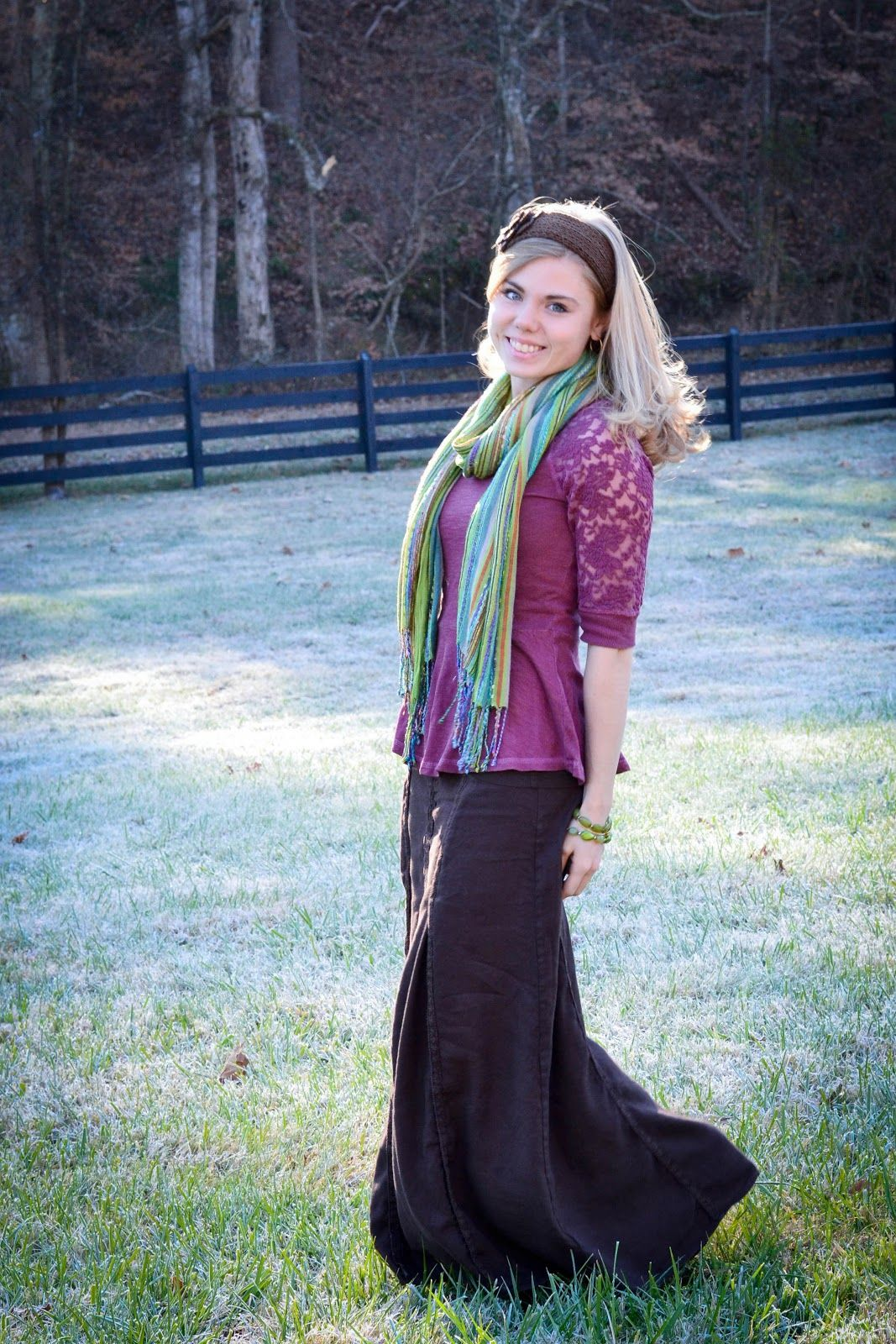 Super cute outfit! You can make such cute but modest outfits!  Fresh Modesty: Dark Rose + Brown