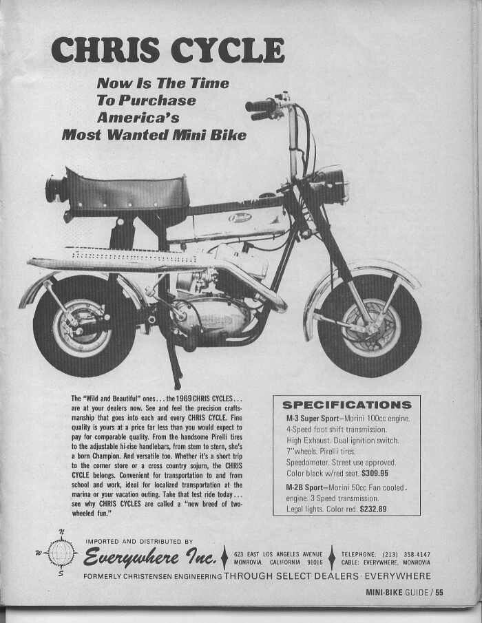 1969 CHRIS CYCLE M-3 SUPER SPORT MINIBIKE | Hooked on