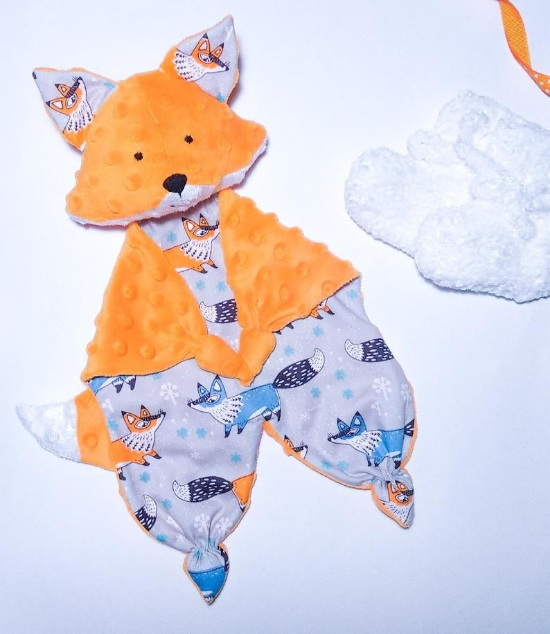 Fox lovey sewing pattern stuffed animal Fox security blanket Baby comforter
