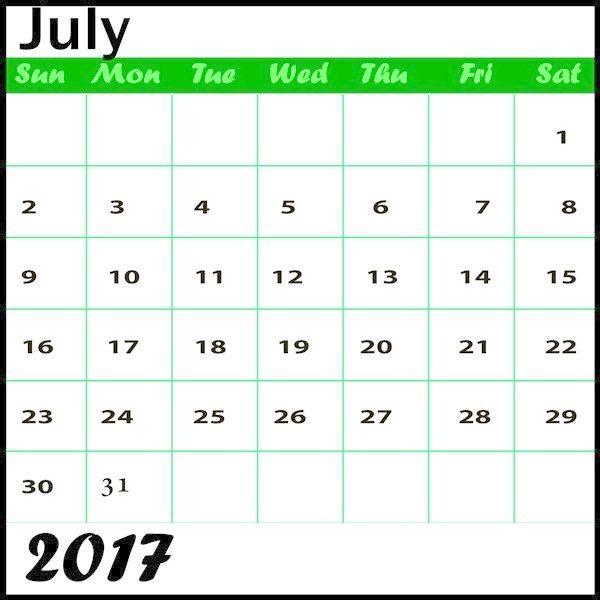 Printable Calendar July 2017 Printable Calendar July 2017
