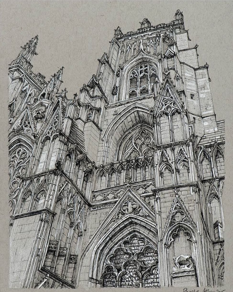 Cathedral sketchbook illustration by phoebe atkey art for Architecture design drawing