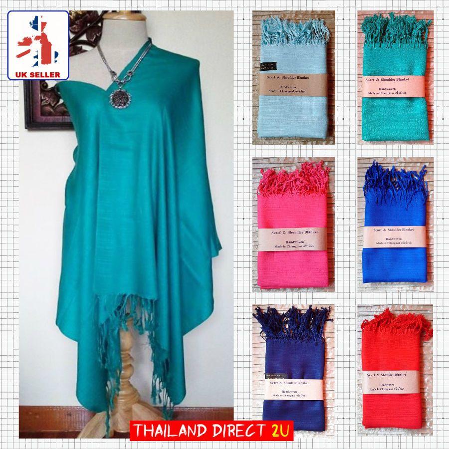 Pashmina scarves/shawls/wraps hand woven 100% thai silk in ...