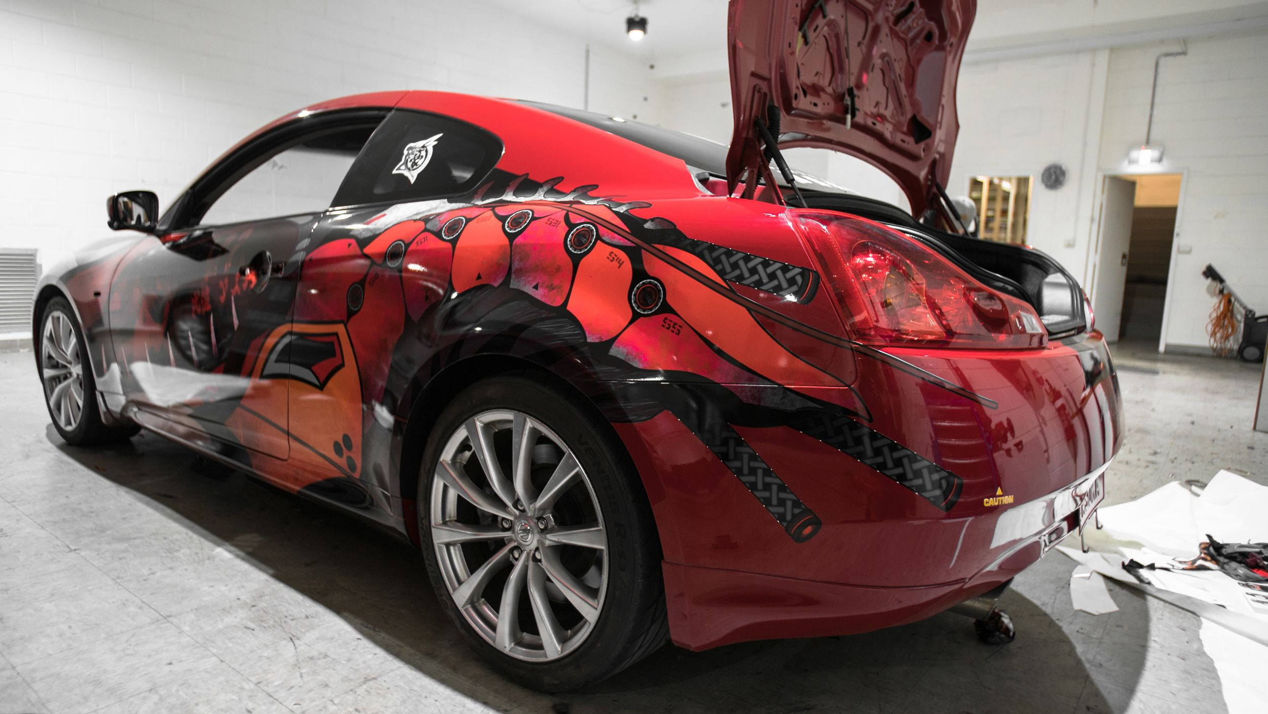 A Crazy Custom Wrap On This Infiniti G37, Befitting The Owners Crazy Taste!