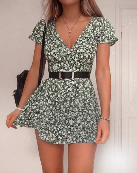 Elara Dress in Floral Field Green