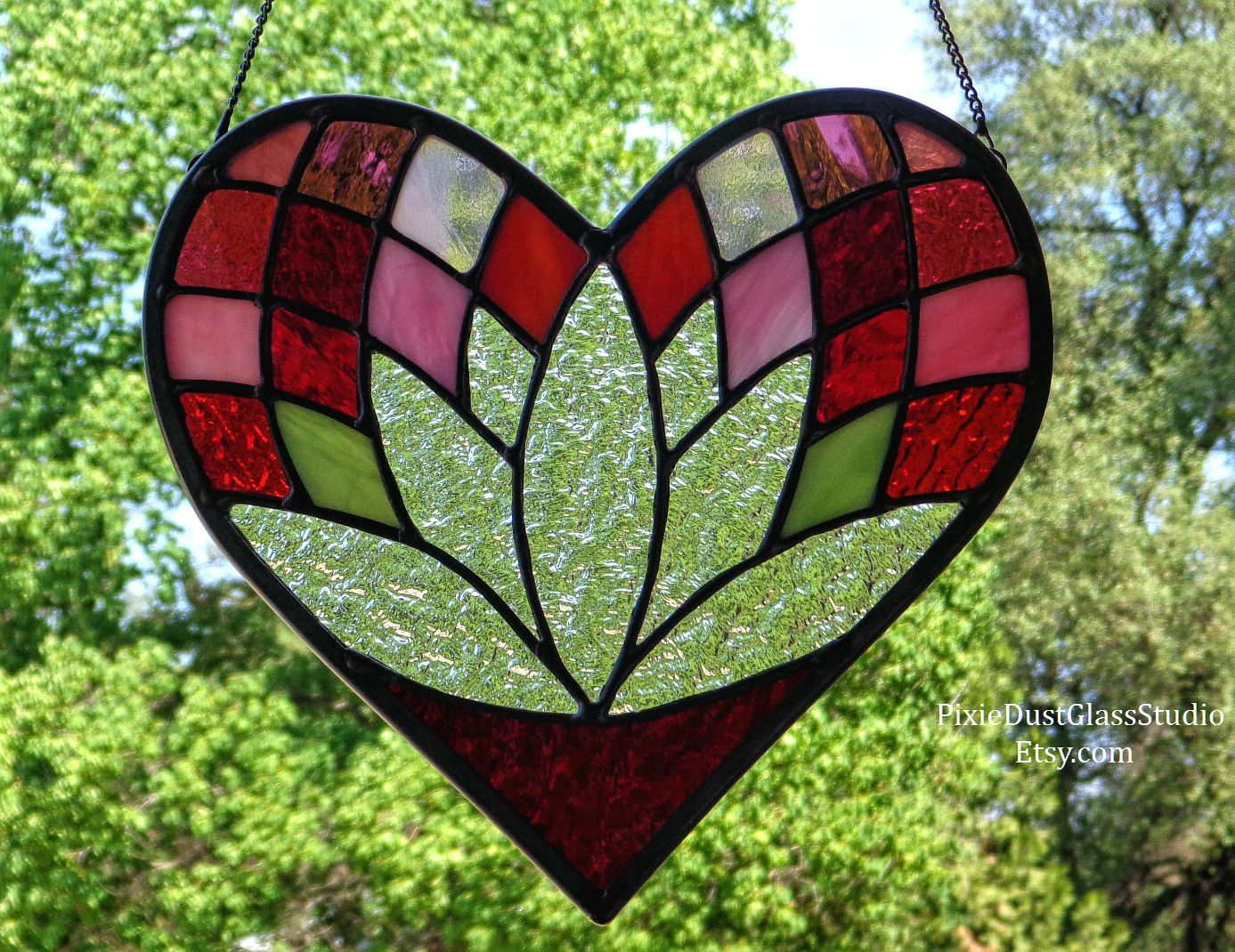 Stained Glass Suncatcher Heart Shaped Lotus Flower Window Hanging Anniversary Gift Valentine Wedding Meditation