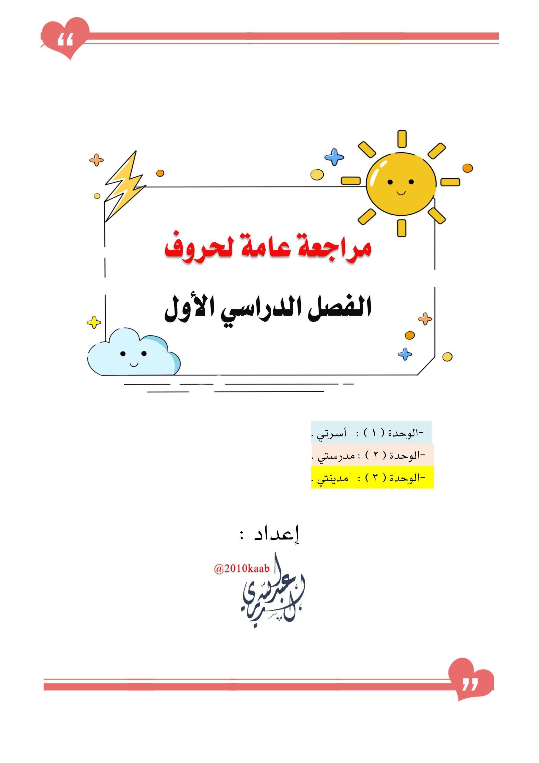 اوراق عمل مراجعة الحروف الهجائية الصف الاول مادة اللغة العربية Learning Arabic Creative Arts And Crafts Learning
