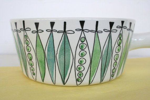 Picknick dish by Rorstrand of Sweden, mid century modern, hand painted, casserole, sauce pan, pea pods. on Etsy