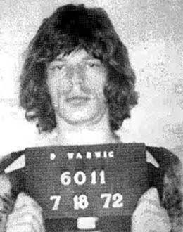 Mick Jagger, arrested in Warwick, Rhode Island on July 18, 1972.
