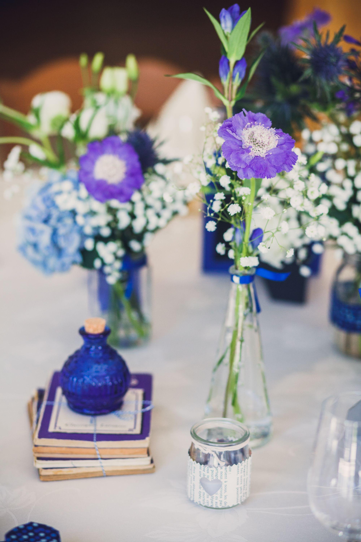 Mariage Bleu Has Photo Centre De Table Bleu Fleurs By Farandoll