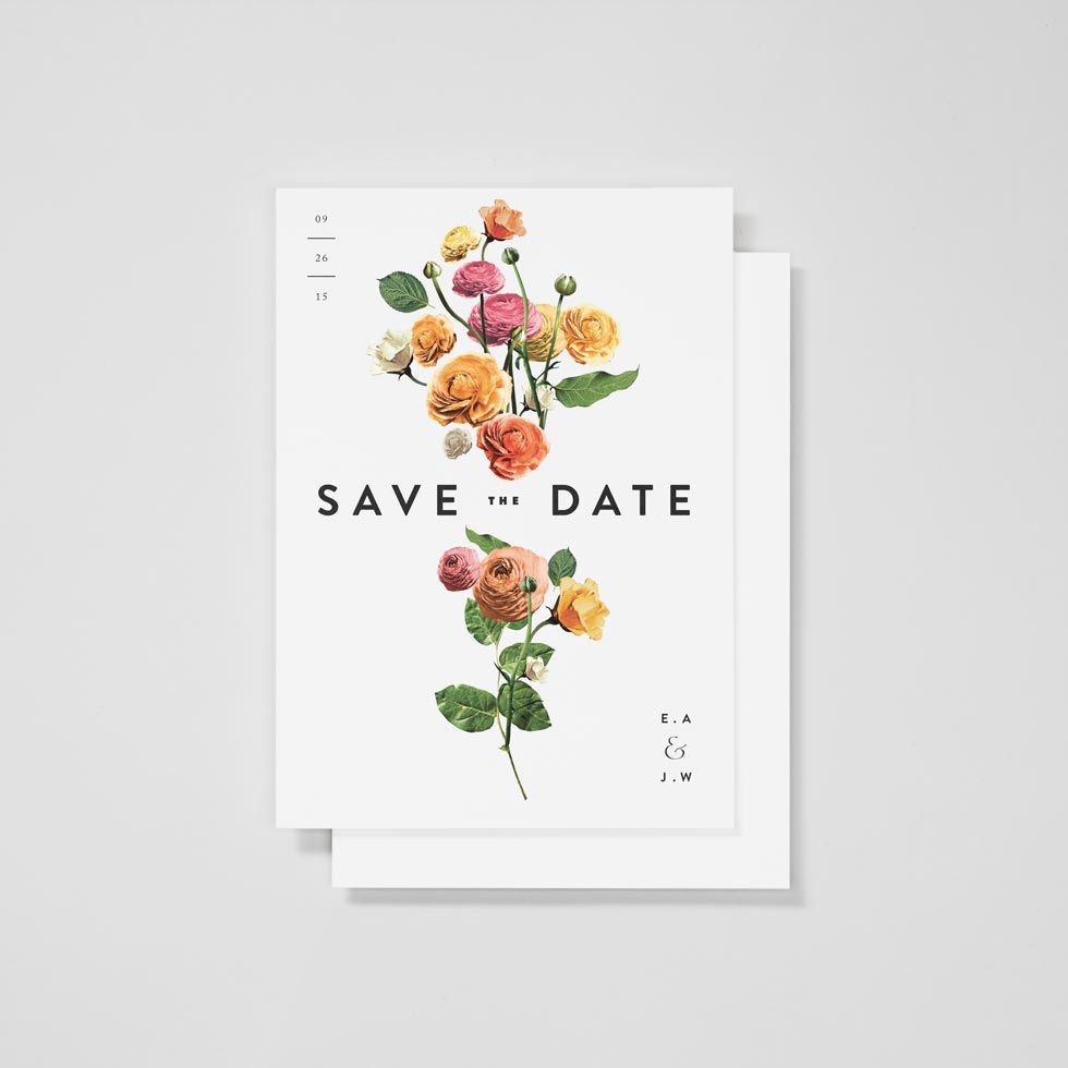 Wildflower Arranged Floral Save the Date — Venamour | Illustration ...