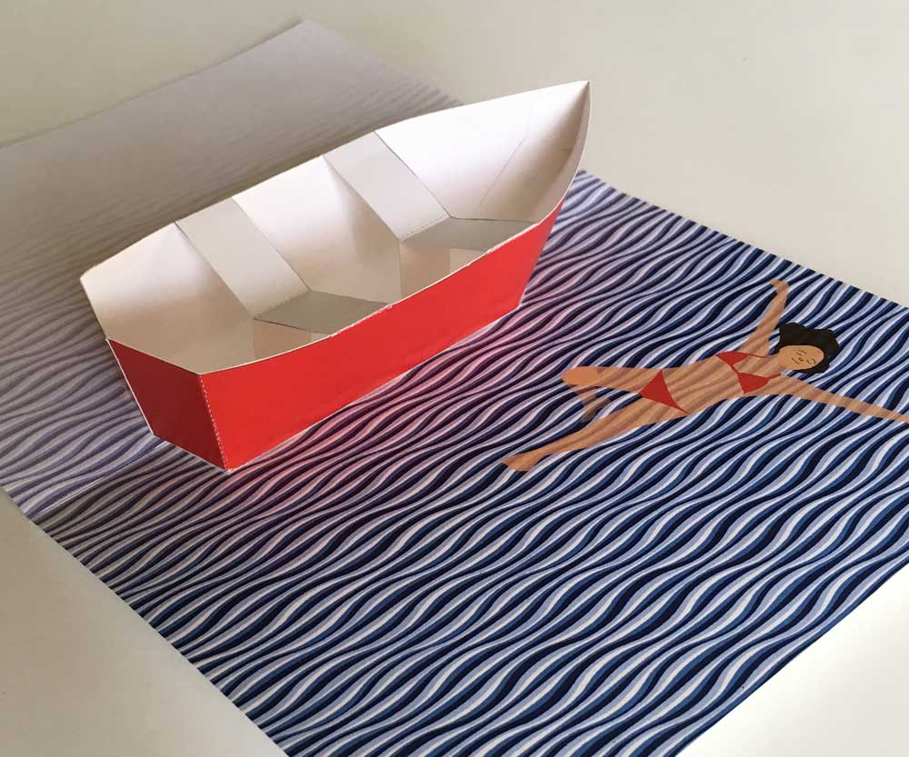 Row Boat Pop Up Card Printable Template Pop Up Card Templates Pop Out Cards Pop Up Cards