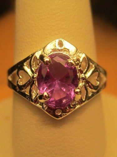 Ring Vintage Retro Sterling Silver 925 Purple Topaz Hearts Love Ornate   GoldenDaysGoneBy - Jewelry on ArtFire