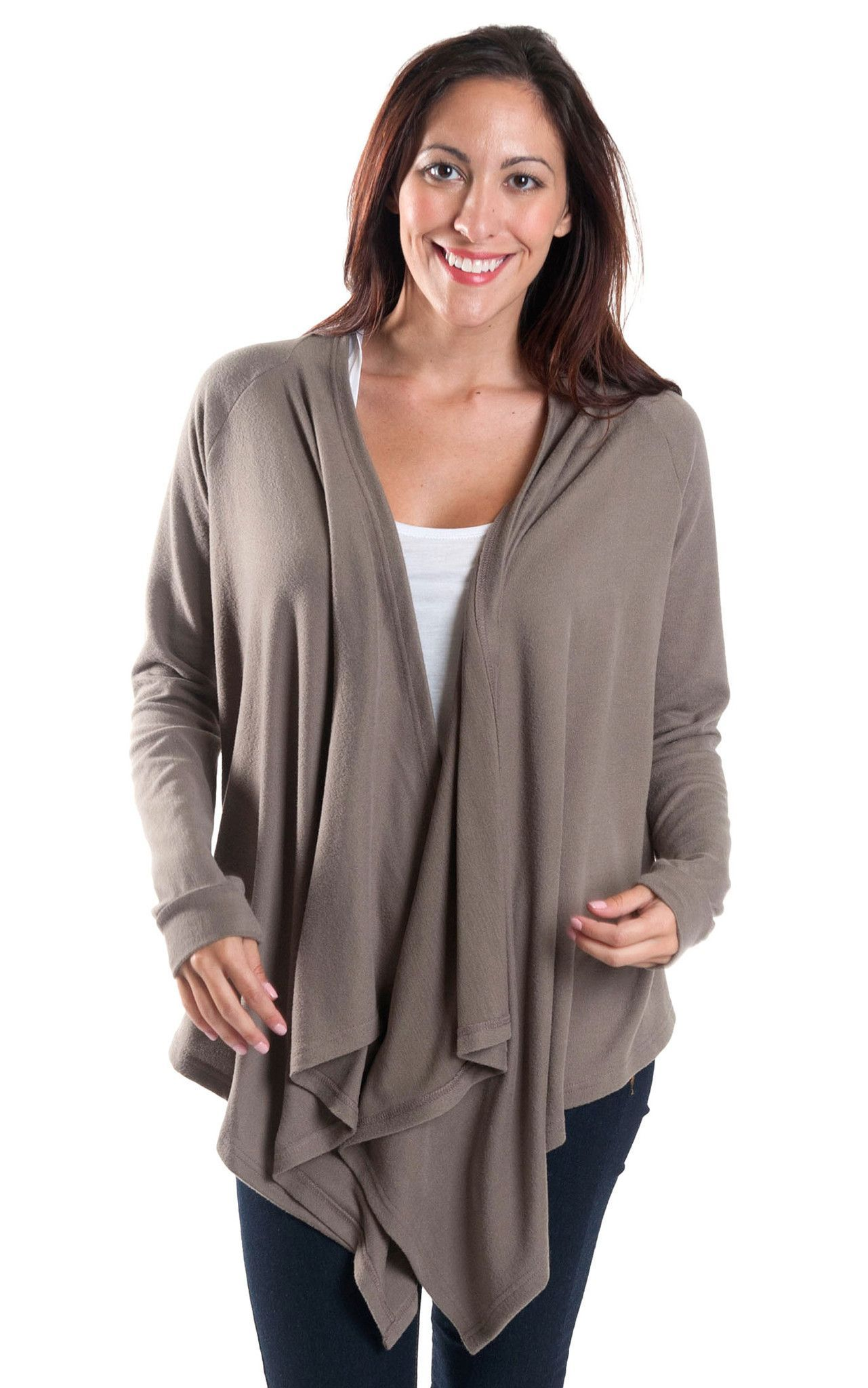 Taupe Claire Waterfall Sweater | Products | Pinterest | Products