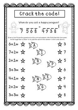 Addition to Ten Free Worksheet! solve the riddle to crack the code ...