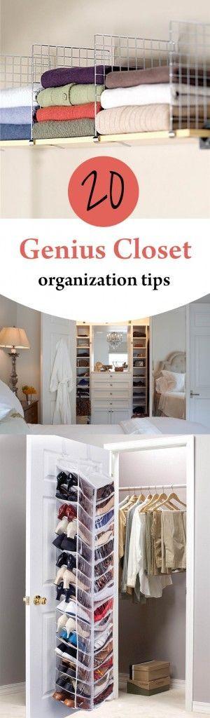 20 Genius Closet Organization Tips Closet Hacks Organizing Easy Closet Organization Closet Organization Diy