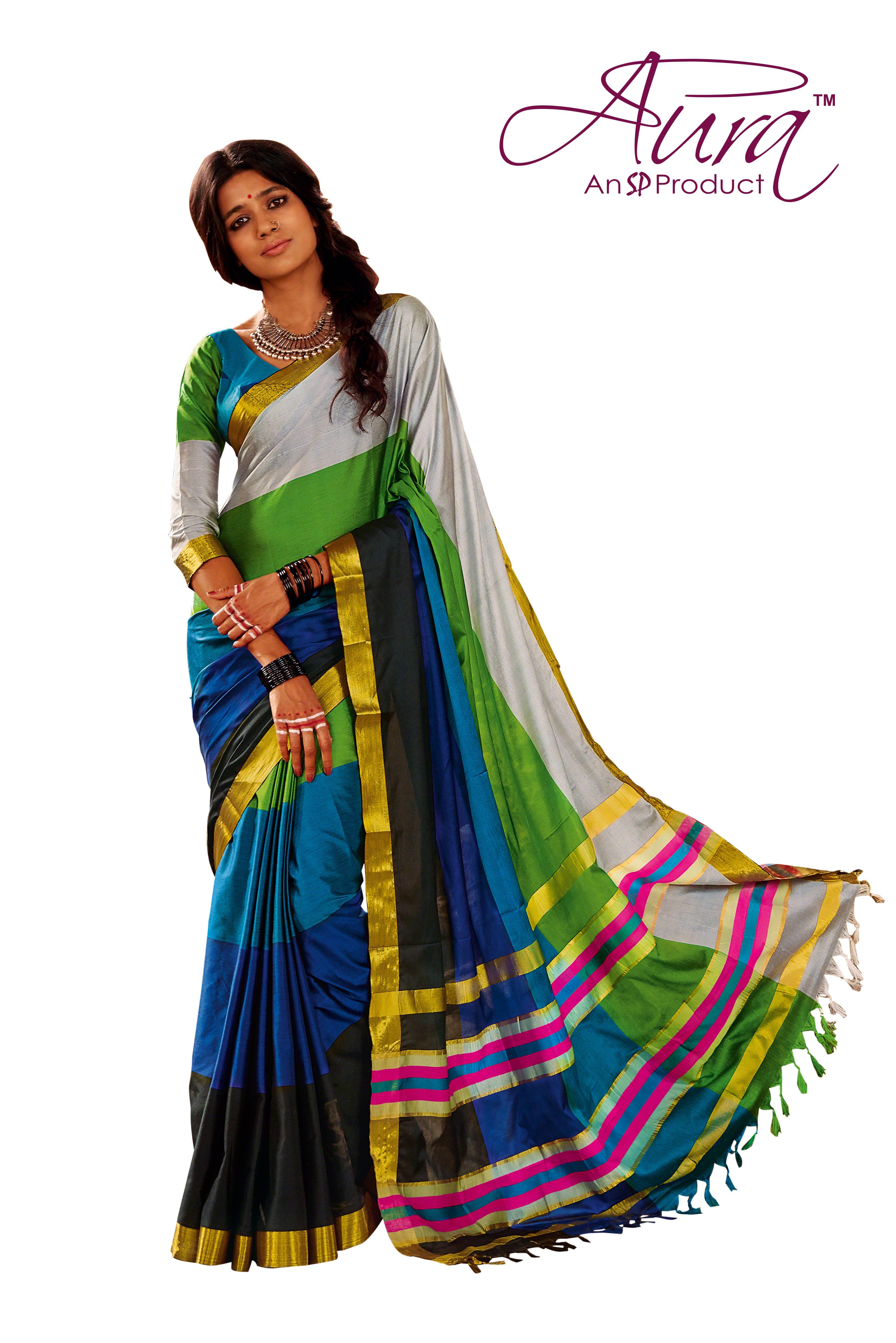 2100c759e2 Multicolour Saree with Golden Border- Rs 1299 Shop now: www.aurastudio.in  #multicoloursarees #Sarees #IndianSarees #CoutureSarees #WomenClothing
